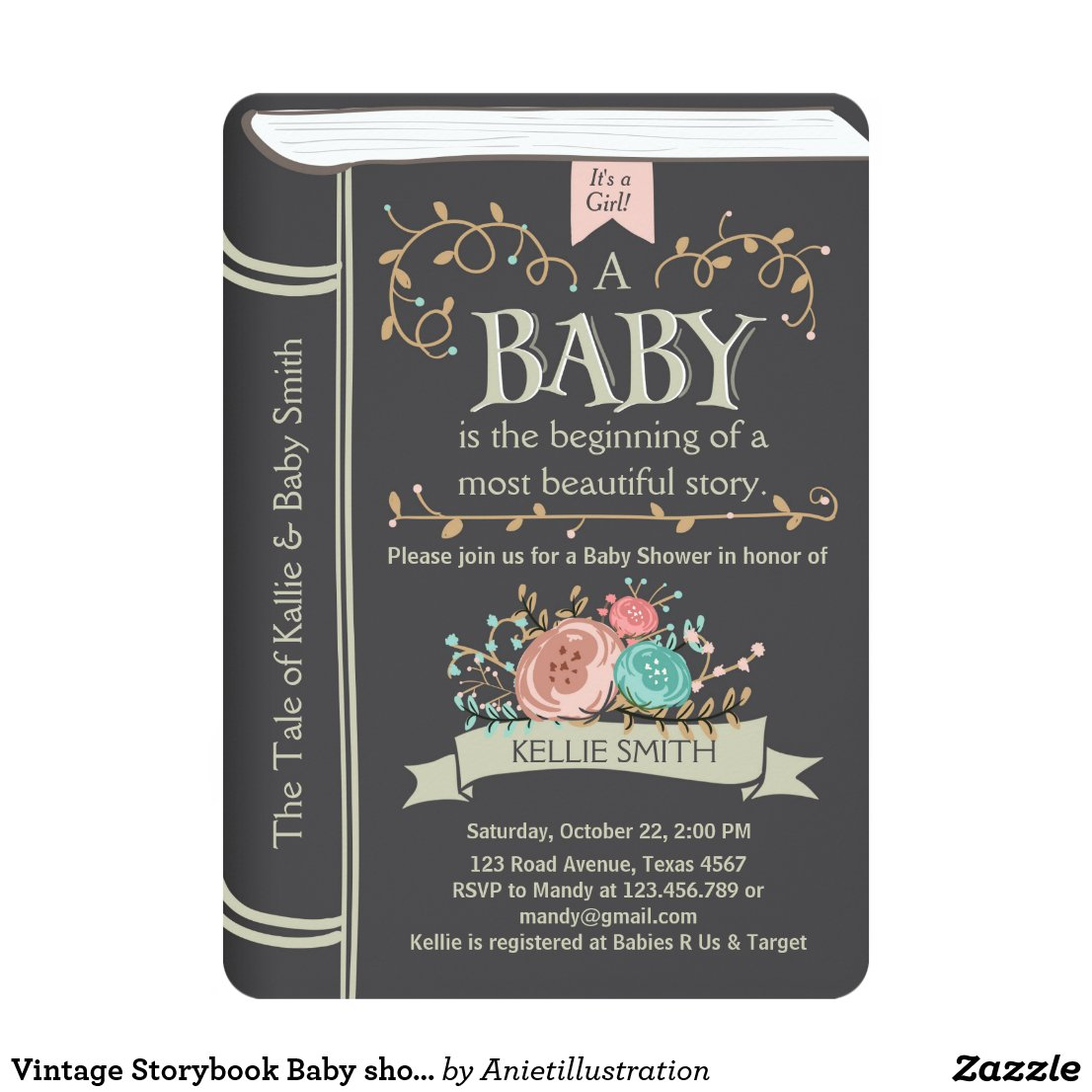 Vintage Storybook Baby shower invitation Unisex