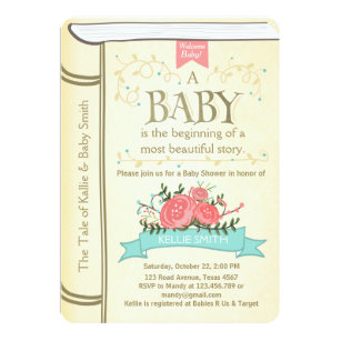Storybook invitations announcements zazzle vintage storybook baby shower invitation yellow filmwisefo