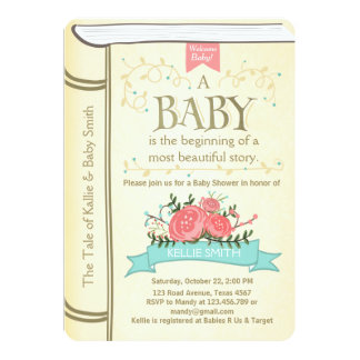 Vintage Storybook Baby shower invitation Yellow