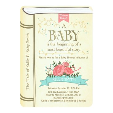 Toddler & Baby themed Vintage Storybook Baby shower invitation Yellow