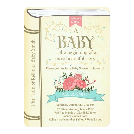 Vintage Storybook Baby shower invitation Yellow Zazzlecom