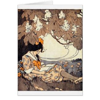 Vintage Storybook Girl Under Tree Card