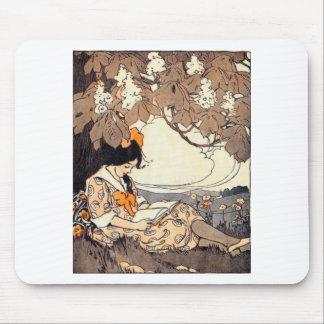 Vintage Storybook Girl Under Tree Mousepad