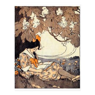 Vintage Storybook Girl Under Tree Postcard