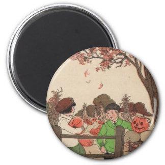 Vintage Storybook Kids & Pumpkins 2 Inch Round Magnet