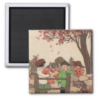 Vintage Storybook Kids & Pumpkins 2 Inch Square Magnet