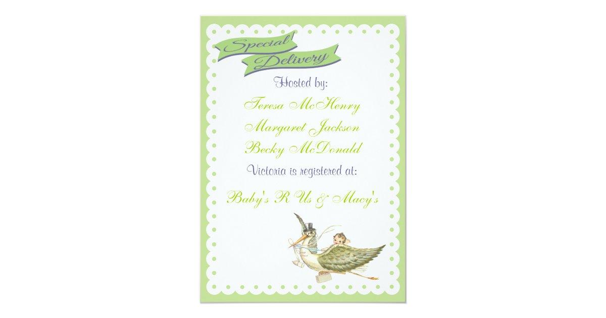 vintage storybook stork baby shower invitations zazzle