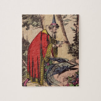 Vintage Storybook Wizard & Peacock Jigsaw Puzzles