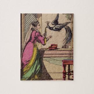 Vintage Storybook Woman & Peacock Puzzles