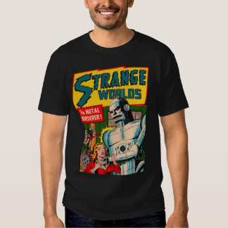 Vintage Strange Worlds Robot Comic Art T-Shirt