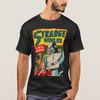 Vintage Strange Worlds Robot Comic Art T-Shirt