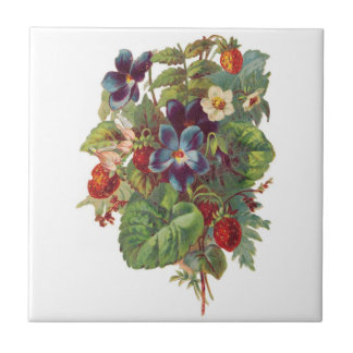 Vintage Strawberries and Flowers Tile