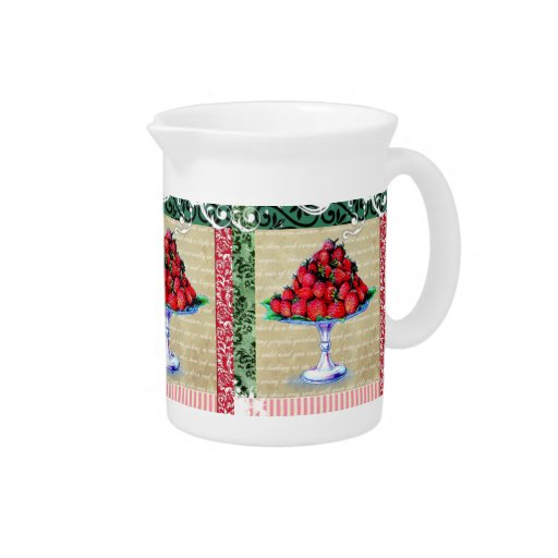Vintage Strawberries Collage Christmas jug Pitchers