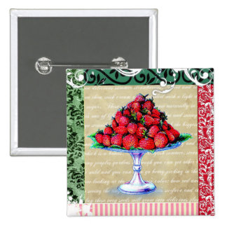Vintage Strawberries Collage Pinback Button