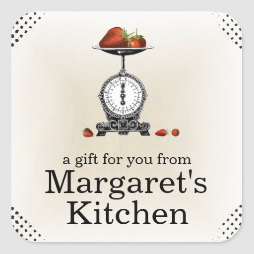 Vintage strawberries grocery scale gift label square sticker