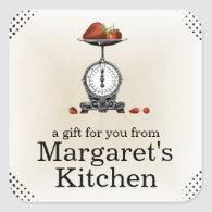 Vintage strawberries grocery scale gift label square stickers