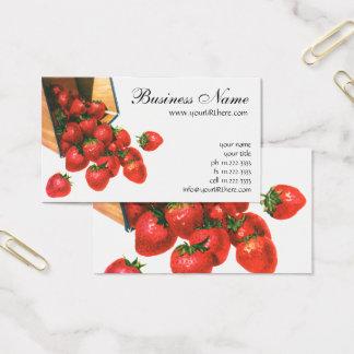 Vintage Strawberries in Basket, Food Fruit Berries Business Card