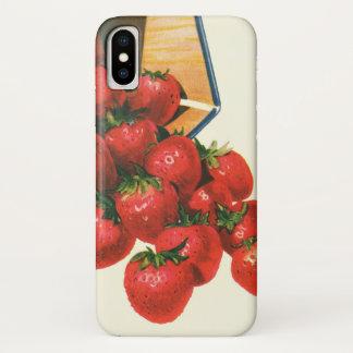 Vintage Strawberries in Basket, Food Fruit Berries iPhone X Case