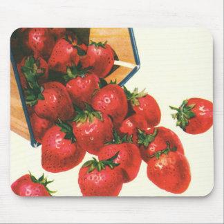 Vintage Strawberries in Basket, Food Fruit Berries Mouse Pad