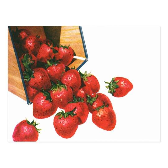 Vintage Strawberries in Basket, Food Fruit Berries Postcard
