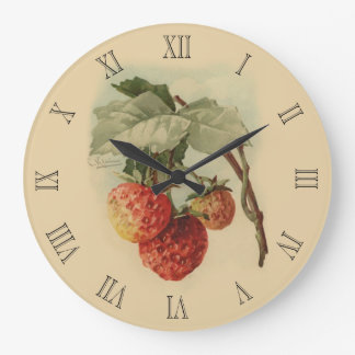 Vintage strawberries large clock