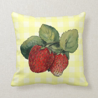 Vintage Strawberries on Yellow Gingham Throw Pillow