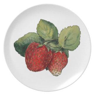 Vintage Strawberries Plate
