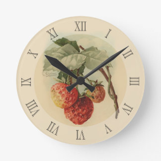 Vintage strawberries round clock