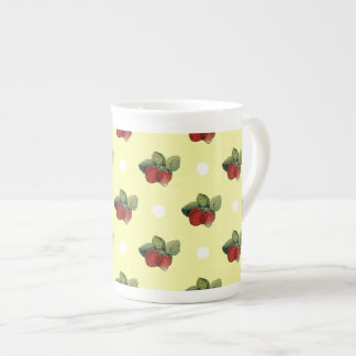 Vintage Strawberry and Polka Dot Pattern Tea Cup