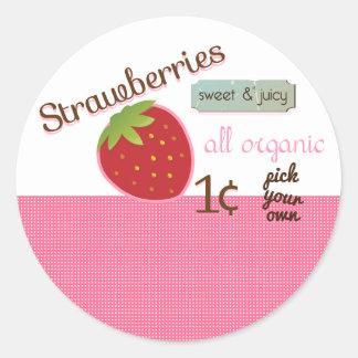 Vintage Strawberry Design Cupcake Topper/Sticker Classic Round Sticker