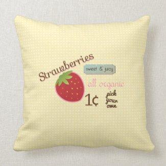 Vintage Strawberry Design Pillow mojo_throwpillow