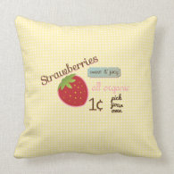 Vintage Strawberry Design Pillow
