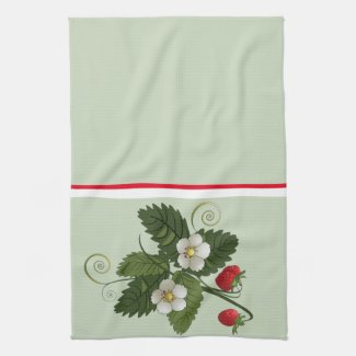 Vintage Strawberry Plant on Sage Green Kitchen Towel