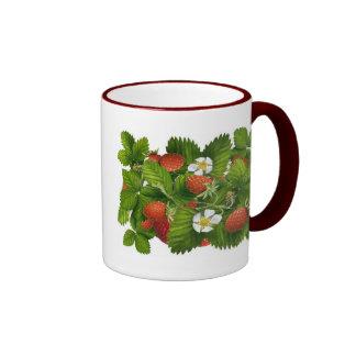 Vintage Strawberry Plant Ringer Coffee Mug