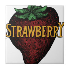 Vintage Strawberry Text Ceramic Tile
