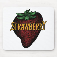 Vintage Strawberry Text Mouse Pad