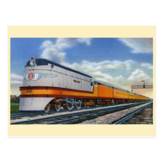 Vintage Streamline Steam Locomotive Postcard