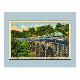 Vintage streamlined train streamliner Royal Blue Postcard