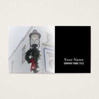 Vintage street light winter wreath white Christmas Business Card