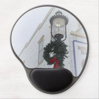 Vintage street light winter wreath white Christmas Gel Mouse Pad
