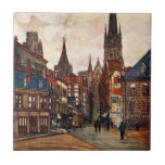 Vintage Street Scene Rouen France Medieval Ceramic Tile