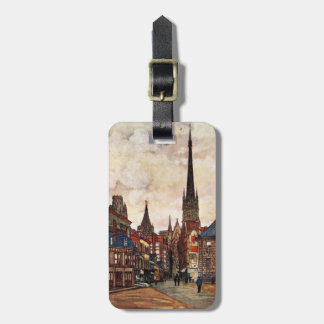 Vintage Street Scene Rouen France Medieval Tag For Luggage