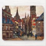 Vintage Street Scene Rouen France Medieval Mouse Pad