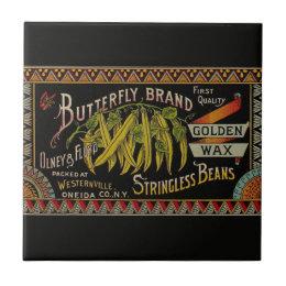 Vintage String Beans Label Ceramic Tile