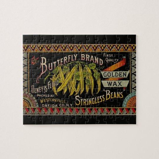 Vintage String Beans Label Jigsaw Puzzle