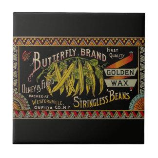 Vintage String Beans Label Ceramic Tiles
