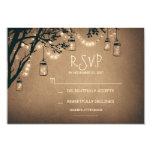 vintage string lights and mason jars RSVP Card