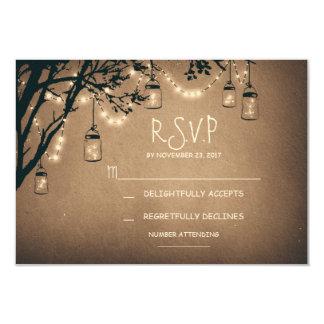 vintage string lights and mason jars RSVP 3.5x5 Paper Invitation Card