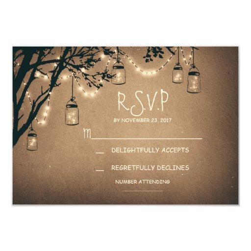 vintage string lights and mason jars RSVP Invites