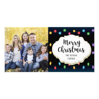 Vintage String Lights Christmas Picture Photo Card